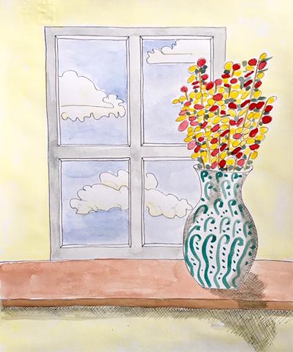 Vista dalla finestra 24 Aprile 2020 - acquerello di Elena Gariselli